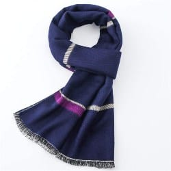 Soft and Warm Stripe Checked Feel Business Old Man Winter Scarf (1)