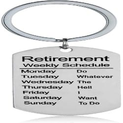 Small Retirement Gift Ideas for Men - Retired Schedule Calendar Keychain (1)