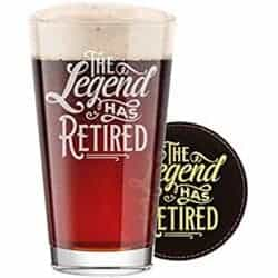 Unique Retirement Gift Ideas For Men Who Have Everything - Engraved Pint Beer Glass with Etched Coaster