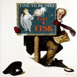 Unique Retirement Gift Ideas for Men - Time To Retire Old Man And Shopping Basket Fisk Tire Company Norman Rockwell Portrait