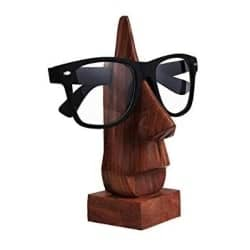 Unique Retirement Gift Ideas for Men - Wooden Hand Carved Classic Sheesham Wood Nose-shaped Eyeglass Spectacle Holder (1)