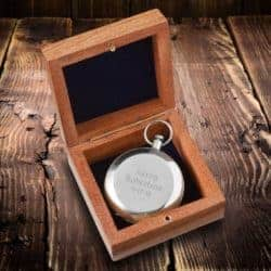 best gifts for dad - personalized compass with wooden box