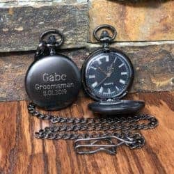 cheap gifts - Personalized Gunmetal Pocket Watch Custom with Monogram