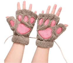 cool gifts - Arshiner Women Cat Bear Paw Claw Soft Winter Gloves