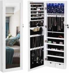 cool gifts - Door Mounted Jewelry Armoire Organizer with Mirror