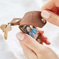 Personalized Photo Keyring in Leather Case