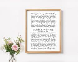 cute gifts - Marriage Vows Print
