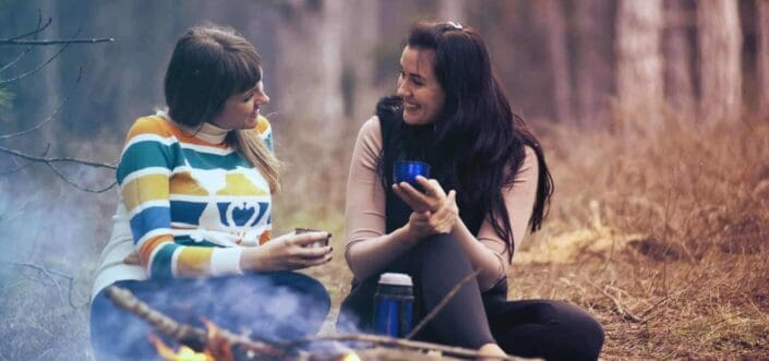 Two female friends having a nice conversation