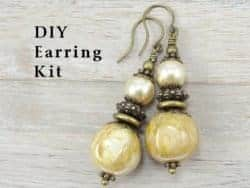 diy gifts - Cream Colored Antique Brass Earrings Kit - Do It Yourself