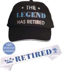 funny gifts for men - Officially Retired Sash and Hat Baseball Cap