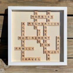funny gifts for men - Scrabble Tile Retirement Frame