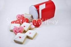 Mini Valentine hearts and love letter sugar cookies