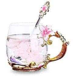 Handmade Flower Glass Tea Mug Spoon Set (1)