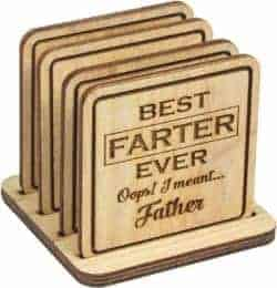 unique gift - Wood Funny Coasters with Holder set