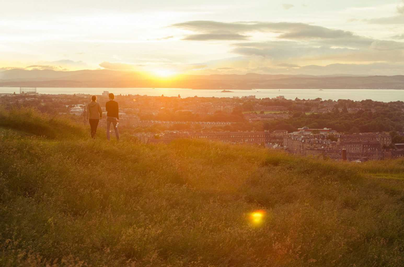 two person walking on green field viewing city