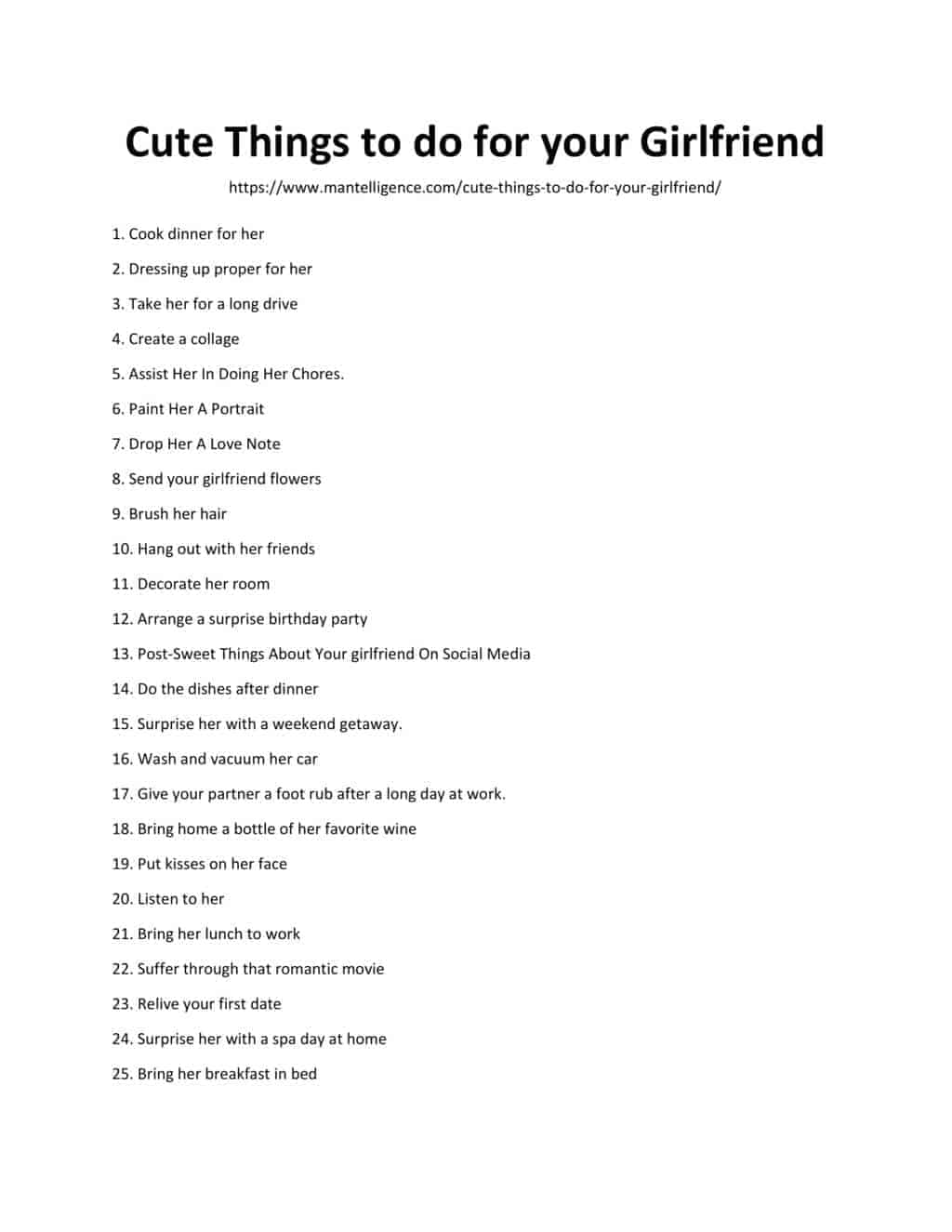 Downloadable List of Cute Things To Do For Your Girlfriend