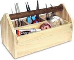 DIY gifts - Natural Wood Color Wooden Craft Tool Box Caddy with a Handle