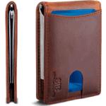 SERMAN BRANDS RFID Blocking Slim Bifold Genuine Leather Minimalist Front Pocket Wallets