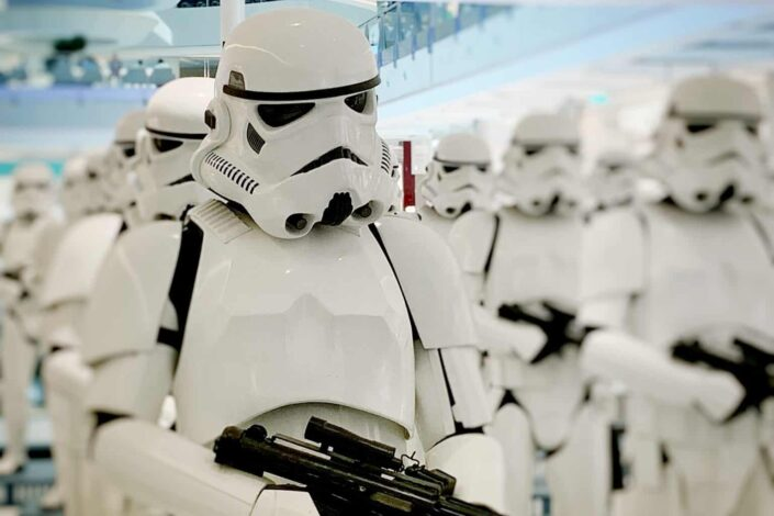 Stormtroopers lined up in a mall