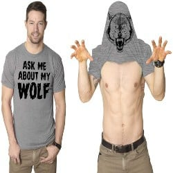 Gifts for Dad - Ask Me About My Wolf Flip T Shirt (1)