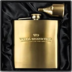 Groomsmen Gifts - 8oz Gold Flask For Liquor + Funnel
