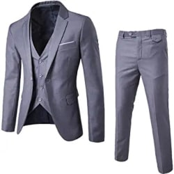Groomsmen Gifts - Cloudstyle Mens 3-Piece Suit Notched Lapel One Button Slim Fit Formal Jacket Vest Pants Set