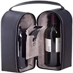 Practical Gifts for Mom - Bey-Berk Leather Wine Bottle Carrier Caddy Travel Tote Bag & Tool Set