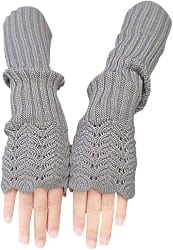 Practical Gifts for WIfe - Novawo Women's Scale Design Winter Warm Knitted Long Arm Warmers Gloves Mittens (1)