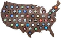 Unique christmas Gifts - USA Beer Cap Map with Dark Stain