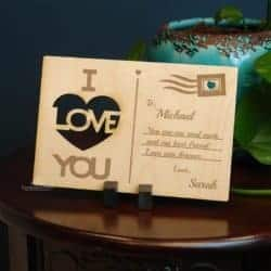 Customized Engraved Wood Postcard
