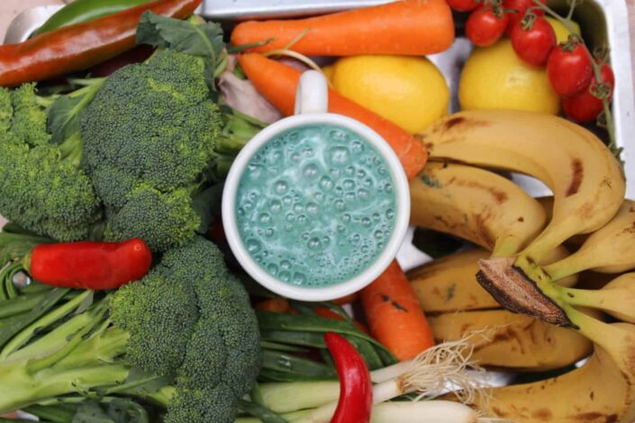 vegetables with fruit shake