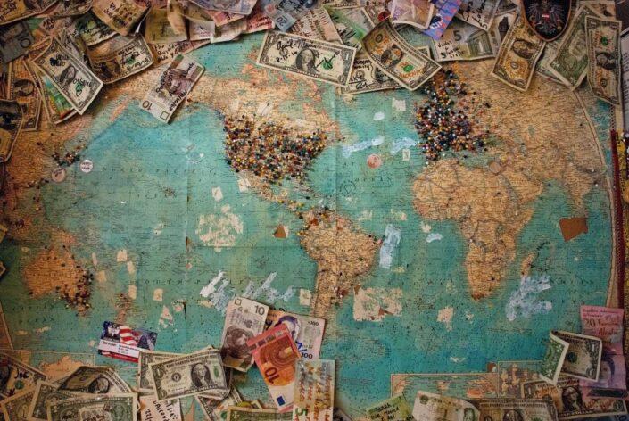 U.S. dollar banknote in world map