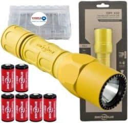 best EDC flashlights - SureFire G2X Pro 600 Lumen Tactical EDC Flashlight Bundle with 4 Extra Surefire CR123A Batteries and Lightjunction Battery Case
