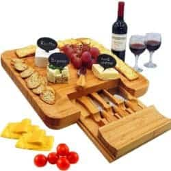 cool christmas gifts - Bamboo Cheese Board & Cutlery Set with Slide-Out Drawer
