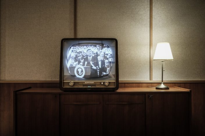 An old television showing an old movie