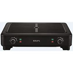 Best grills - KRUPS PG760851 Electric Indoor Adjustable Temperature Smokeless Grill w/Non-Stick Cooking Surface and Dishwasher Safe Removable Drip Tray