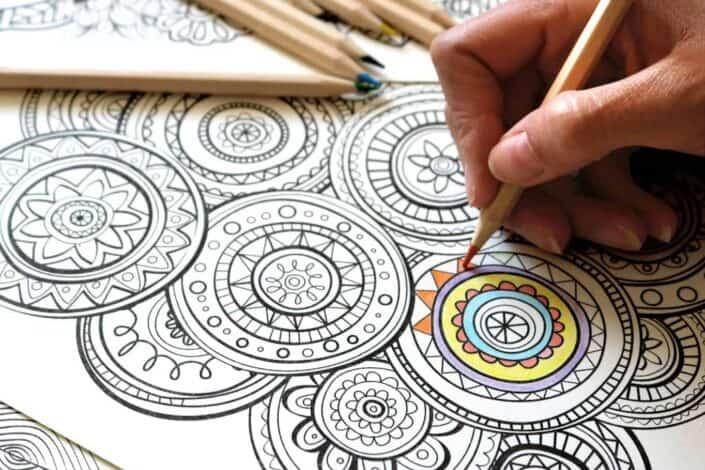 person coloring printed art
