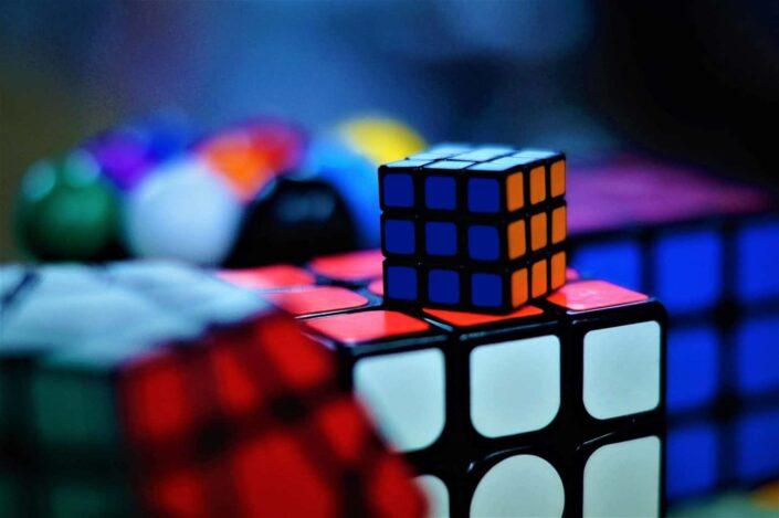 shallow focus photo of rubik's cube