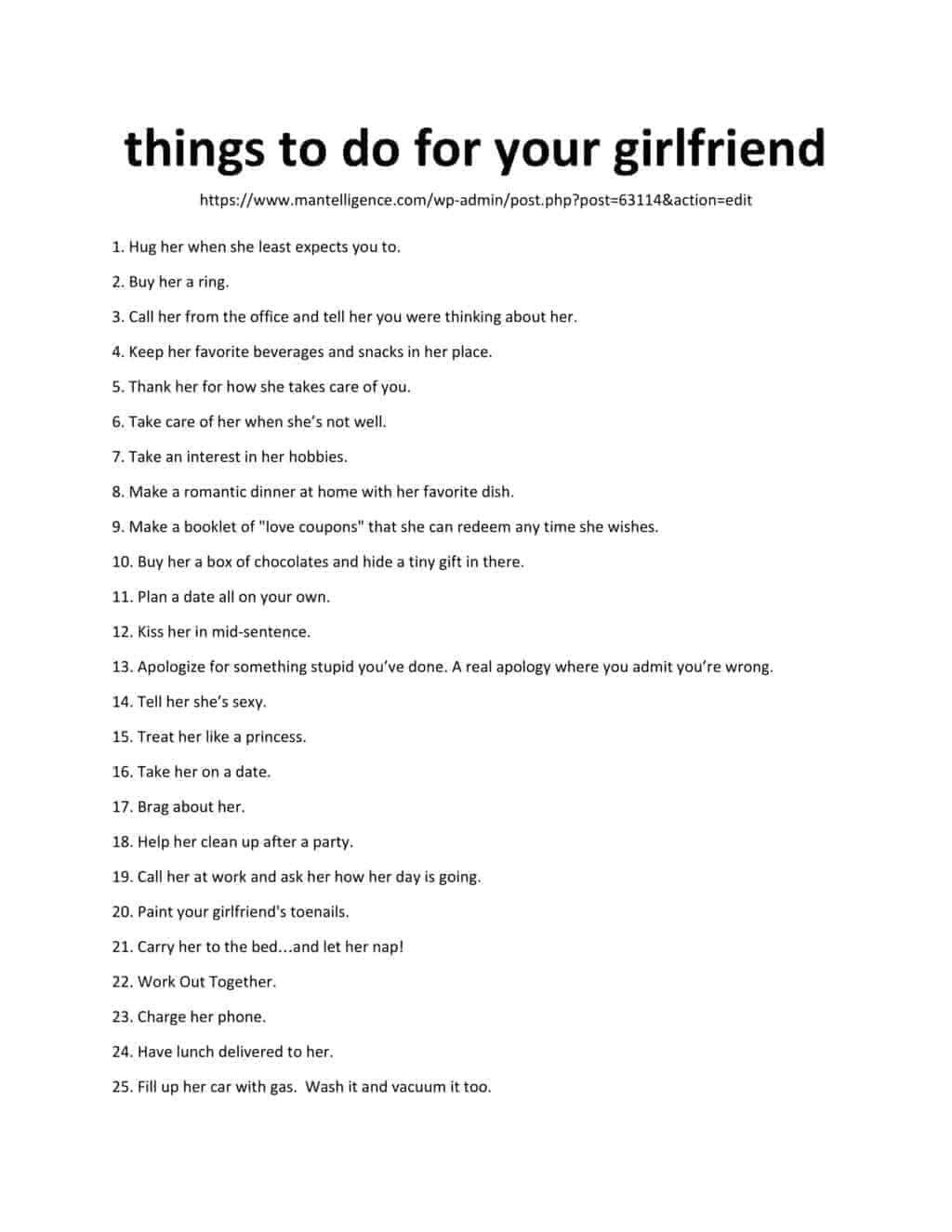 things to do for your girlfriend - Downloadable List of Things to Do For Your Girlfriend
