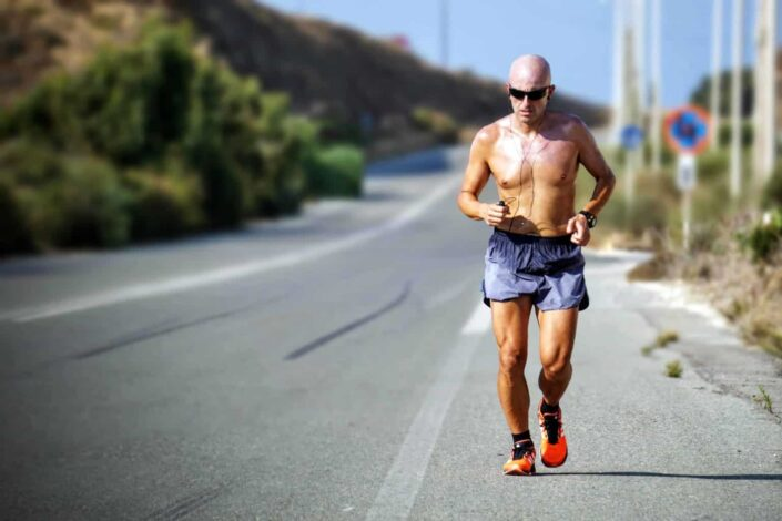 Man jogging on a sunny day
