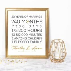 20th Anniversary Gifts For Parents - Years, Months, Days, Hours, Minutes Print with Frame