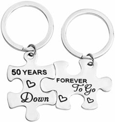 50th Anniversary Gifts For Parents -5oth Years Down Forever to Go Puzzle Keychain