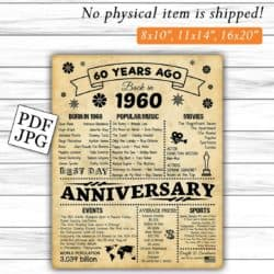 60th Anniversary Gifts For Parents -60 Years Ago Poster