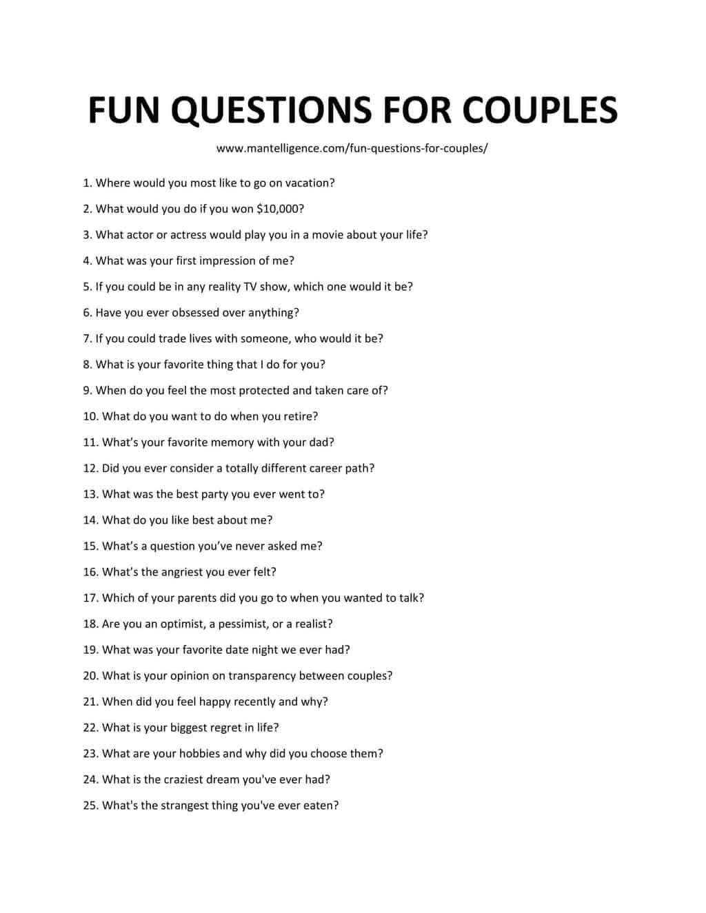 Downloadable List of Fun Questions for Couples