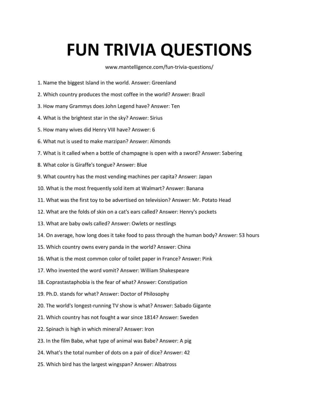 Downloadable and Printable List of Fun Trivia Questions