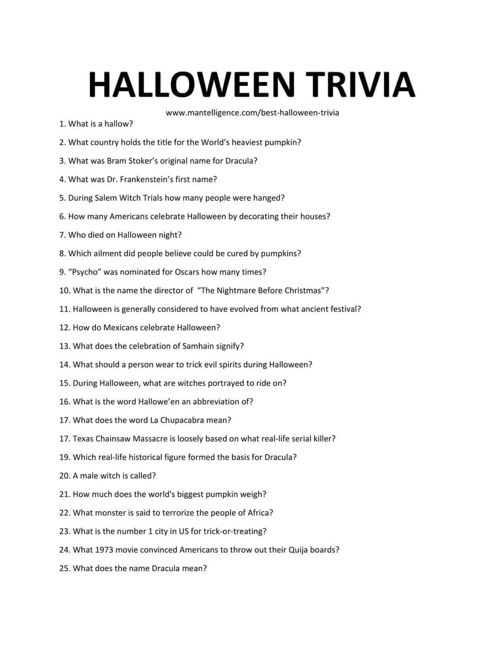 Downloadable List of Halloween Trivia