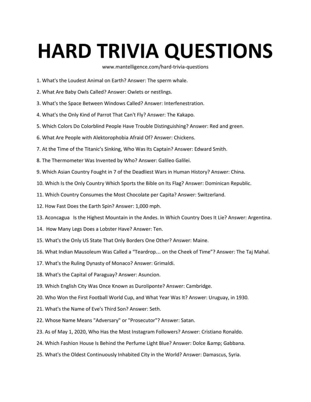 Downloadable List of Hard Trivia Questions