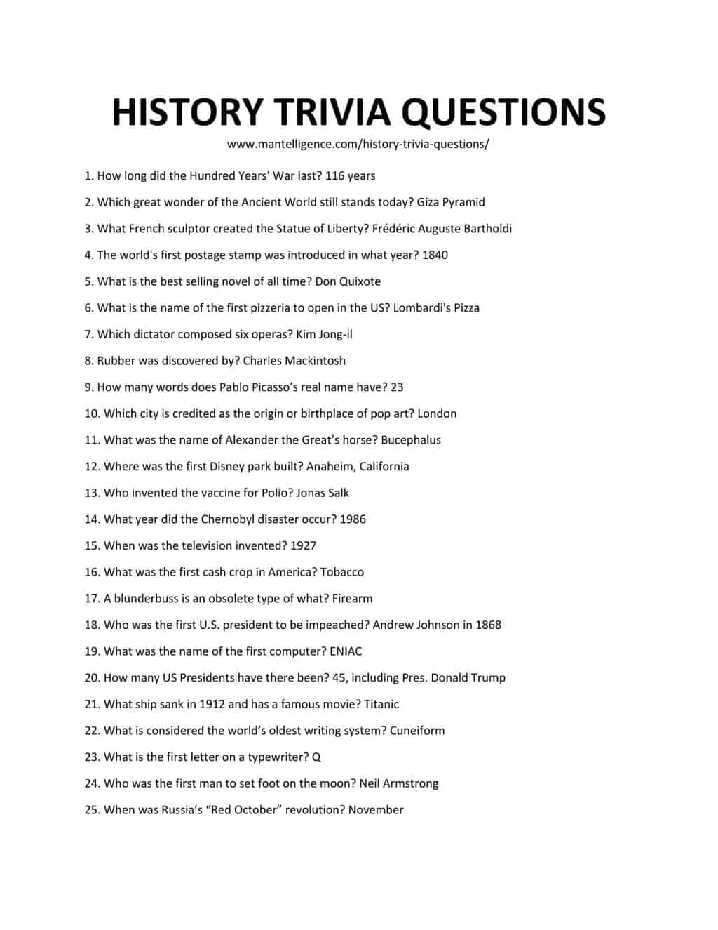 Downloadable and Printable List of History Trivia Questions
