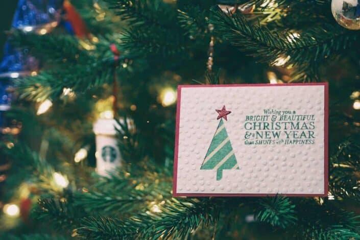 christmas card hang in tree