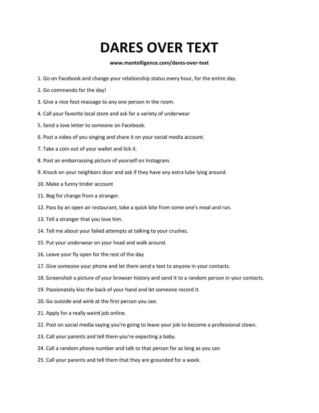 25 Dares Over Text - List of Dares Over Text